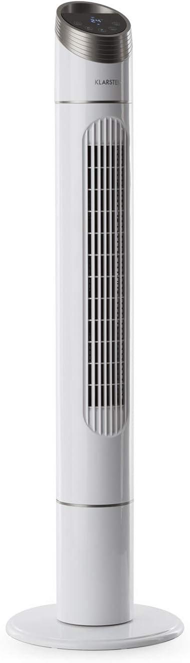 Temporizador Oscilaci/ón 90/° 3 velocidades Ventilador de pie Blanco Dise/ño Vertical KLARSTEIN Skyscraper 3G White Edition Mando a Distancia Bajo Consumo 50 W