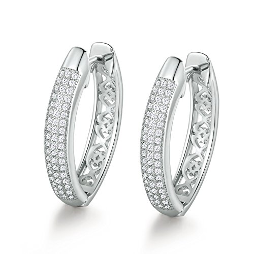 Double Clear Stone Row - GULICX Filigree Silver Tone 3 Row Clear Cubic Zirconia CZ Hoop Huggie Earrings Sleeper