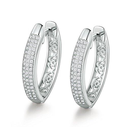 GULICX Filigree Silver Tone 3 Row Clear Cubic Zirconia CZ Hoop Huggie Earrings ()