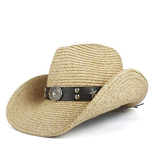 Women's Elegant Popular Cowboy Hats Straw Western Cowboy Hats For Women Men With Roll Up Brim Lady Gentleman Cowgirl Sombrero Hombre Summer Beach Holiday Sun Cap Men's Fashion Hot Sale Cowgirl Caps