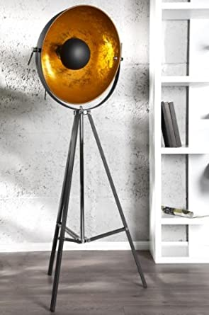 Designer Studioleuchte Stativ Lampe Stehleuchte In Schwarz Gold