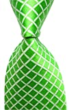 Elfeves Mens Spring Green Gingham Seft Tie Modern Woven Party Cool Necktie 3.15''