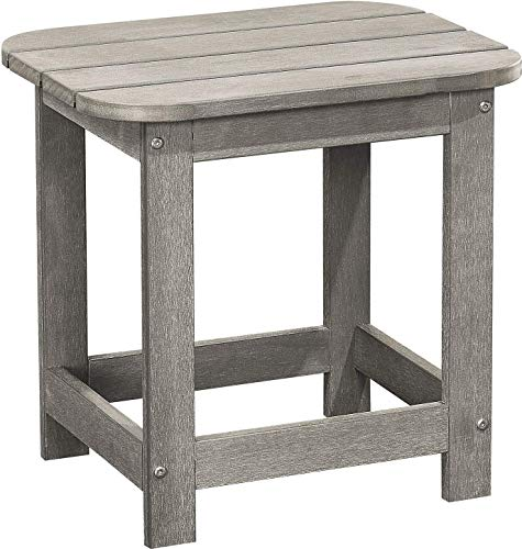 PolyTEAK Compact Side Table, Stone Gray - Looks Like Wood | All Weather Waterproof Material | Poly Resin Side Table | Porch and Patio Table | Feels Like Teak (Table Side Teak Patio)