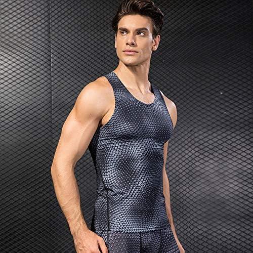 弾性力の服のシャツベストメンズワークアウトタンク、2パックの圧縮シャツ立体印刷クイック乾燥,E,L