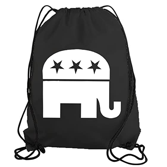 Amazon Stickerslug Black Republican Elephant Symbol Drawstring