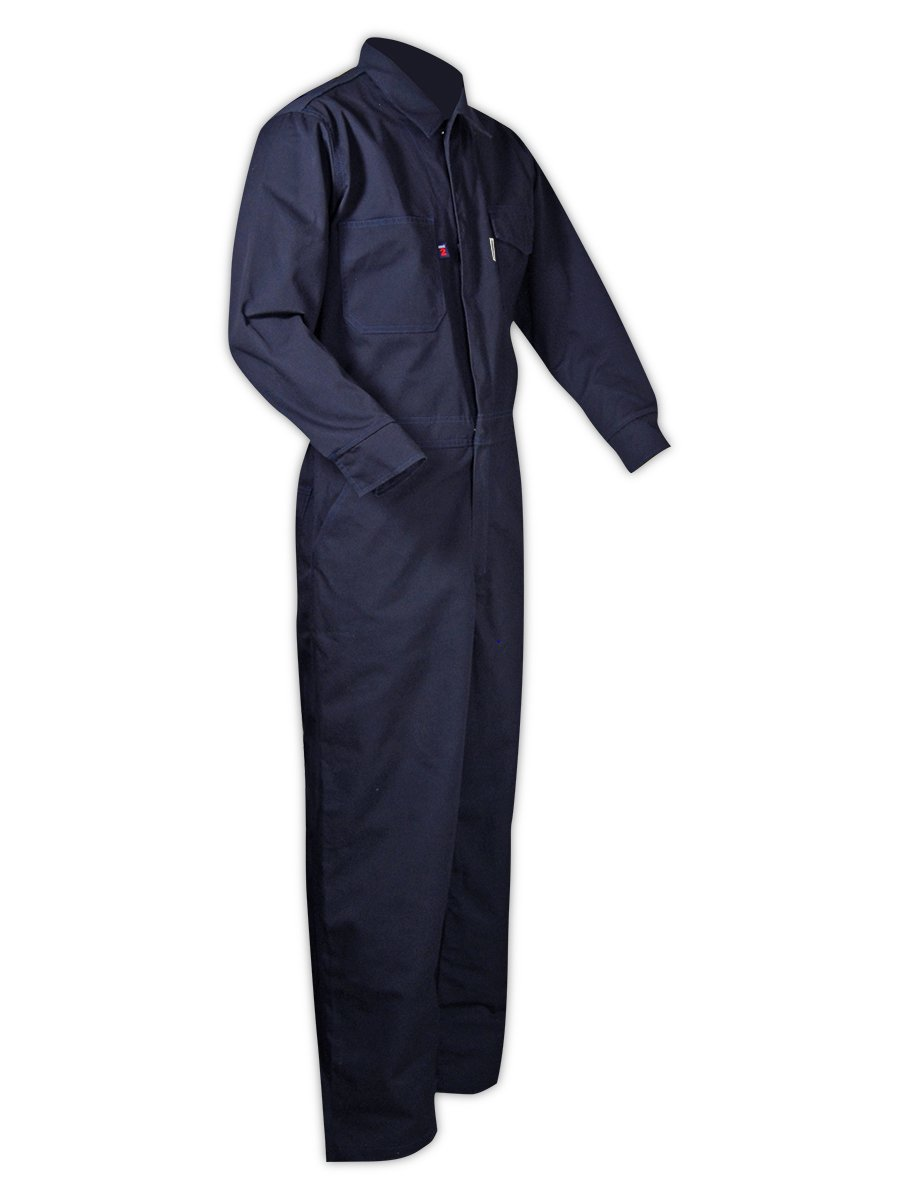 Magid Glove & Safety CBN65DHL CBK65DH/CBN65DH Dual-Hazard 6.5 oz. FR 88/12 Contractor Coveralls, Navy, Large, Flame Resistant Cotton Blend