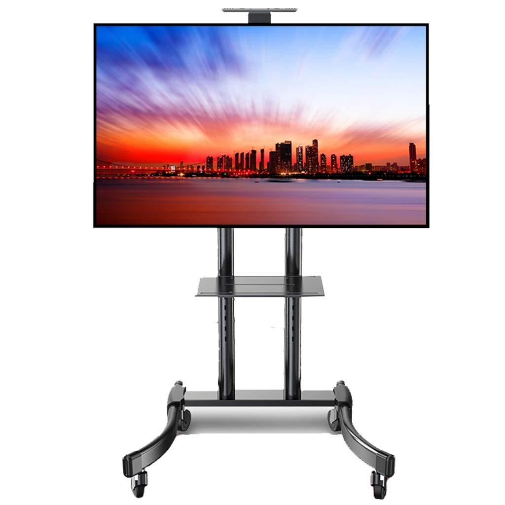 テレビスタンド 2棚付きローリングテレビスタンド、32/42/43/49/50/55/65インチプラズマ/ LCD/LED TV用ブラック、ロード70kg用の高耐久回転自在型ユニバーサルTVカート (Color : Black) B07TFHQZ2F Black