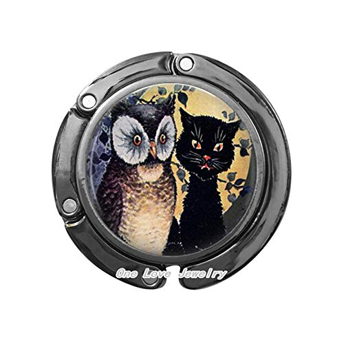 - Owl and cat Photo Bag Hook Purse Hook or Key Chain Altered Art Jewelry Glass Bag Hook Fall Halloween Gift,TAP400