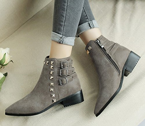 With Studded Gray Zip Zipper Low Chunky Strap Buckle Aisun Ankle Women's Pointed Inside Boots Light Heel Up Booties Short Toe qHwtagAgvR