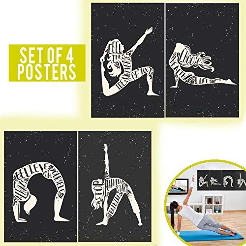 Yoga Posters with a Motivational and Inspirational Quotes in Cardboard Design Perfect to Decorate Gyms or Exercise Areas - Set of 4 Decorative Posters, Double Sided Taped Included