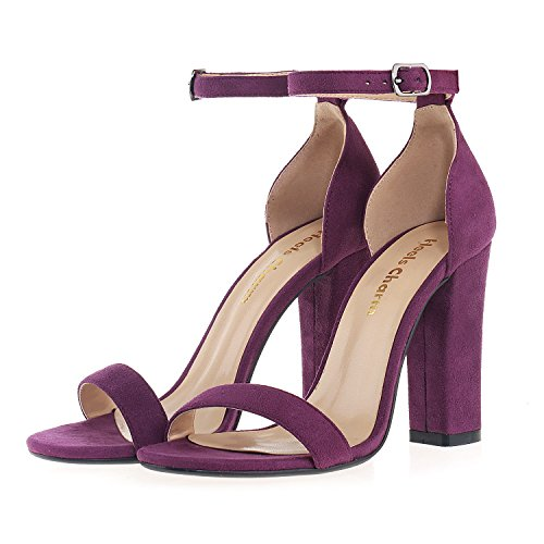 Wedding for Birthday Party Strappy Ankle Sandal Evening Dress Heel Strap High Women's Sandals Velvet Chunky Open Toe Office Purple Shoes q6w7PwxO
