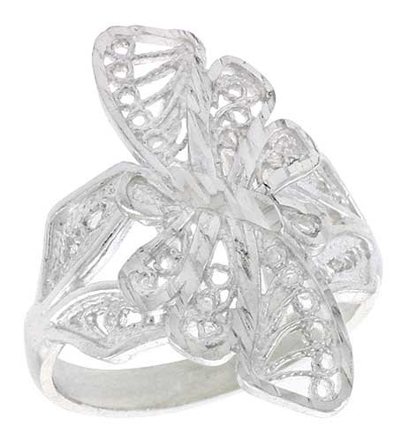 Sterling Silver Butterfly Filigree Ring, 7/8 inch, size 6.5 (Ring Butterfly Filigree)