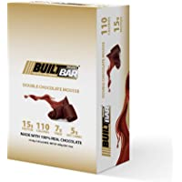 Built Bar 18 Pack Energy and Protein Bars - 100% Real Chocolate - High in Whey Protein and Fiber - Gluten Free, Natural Flavoring, No Preservatives (Double Chocolate)