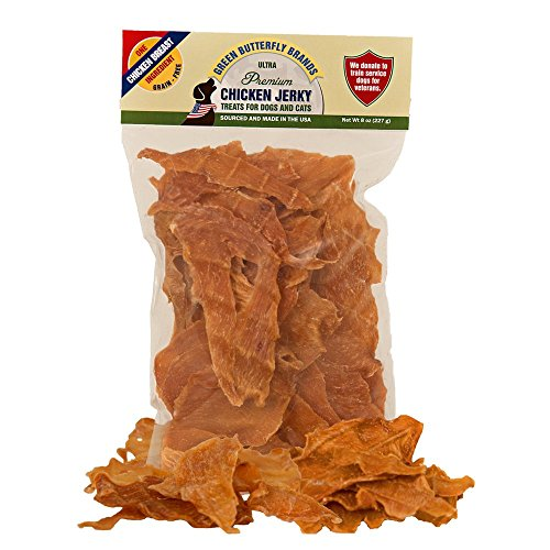 - Green Butterfly Brands Chicken Jerky - Dog Treats Made in USA Only - One Ingredient: USDA Grade A Chicken Breast - No Additives or Preservatives - Grain Free, All Natural Premium Strips 8 oz.