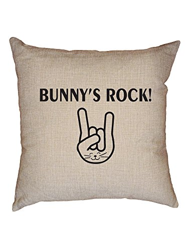 (Hollywood Thread Bunny's Rock! with Bunny Ears Hand Graphic Decorative Linen Throw Cushion Pillow Case with Insert )