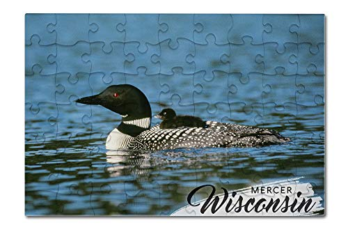 Wisconsin Chick - Mercer, Wisconsin - Loon and Chick (8x12 Premium Acrylic Puzzle, 63 Pieces)