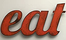 eat - 5.5x11 or 8.5x17 inch long eat metal wall art word - Handmade - Choose your patina color and size