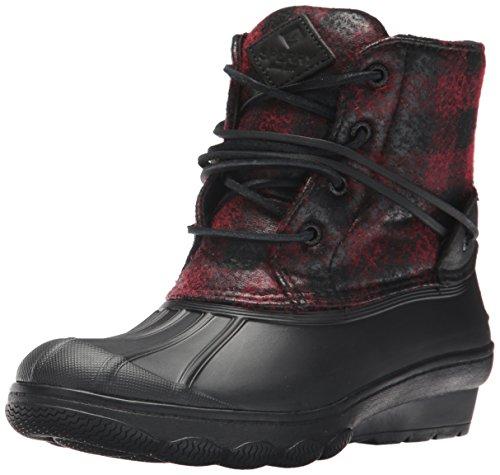 Sperry Top-Sider Women's Saltwater Wedge Tide Wool Rain Boot, Black/Red/Buffalo Plaid, 7 Medium (Plaid Womens Wedge)