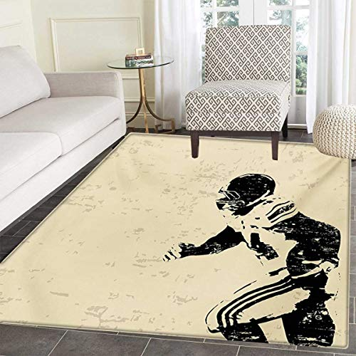 Hand Tufted Black Rugby - Sports Door Mat Indoors Rugby Player in Action Running Success in Arena Playground Sport Best Team Picture Customize Bath Mat Non Slip Backing 24