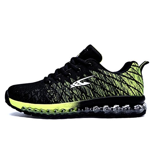 LFEU Adulte Mixte Chaussure de Course Running Sneakers Amoureux Bulle D'Air Chaussure de Sport Basket Cross-Country Cyclisme Training Fashion Légère Noir Vert 2vmmNXS