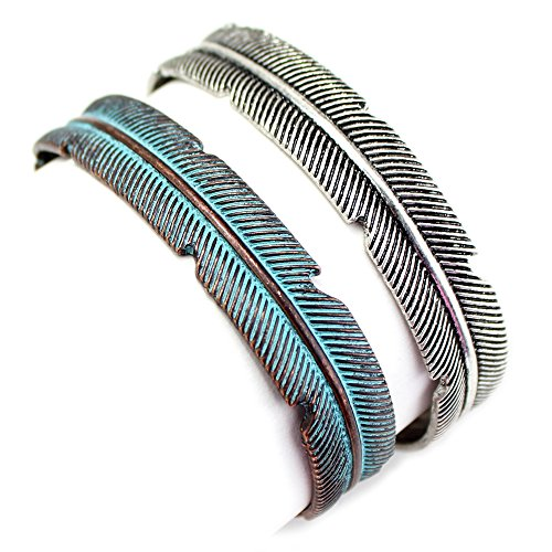 Silver or Copper / Patina Feather Cuff Fashion Bracelet from the WYO-HORSE Jewelry Collection (Patina)