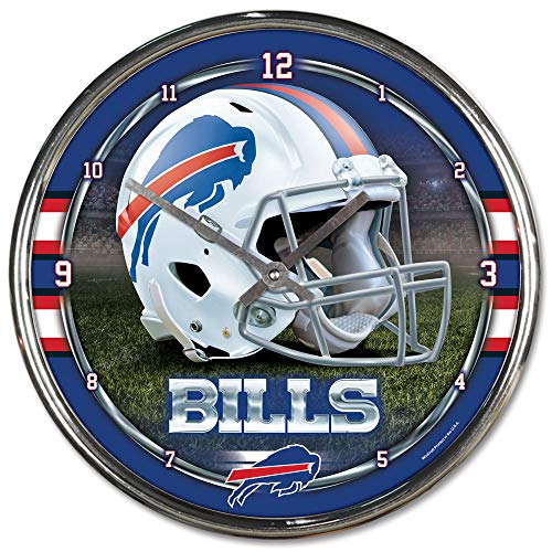 Nfl Football Team Chrome Wall Clock , Buffalo Bills , - Buffalo Clock Bills