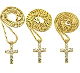 "MENS GOLD TONE ICED OUT MICRO CROSS PENDANT ROPE BOX CUBAN CHAIN 18"", 20"", 24"",30"" NECKLACE"