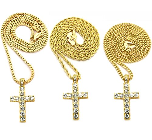 MENS GOLD TONE ICED OUT MICRO CROSS PENDANT ROPE BOX CUBAN CHAIN 18
