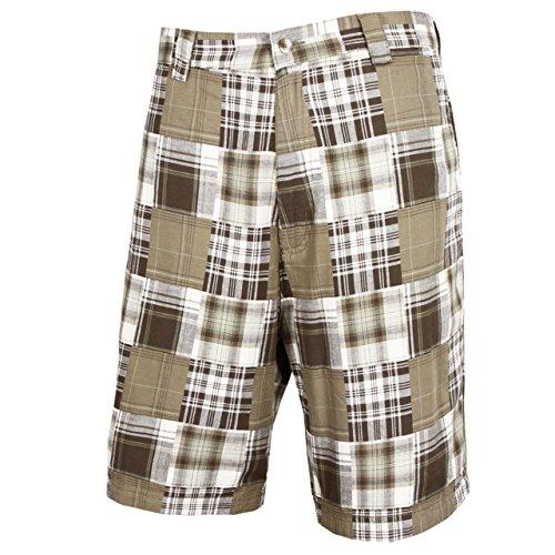 Tres Bien Golf Men's 100% Cotton Patch Work Plaid Shorts-Olive-34