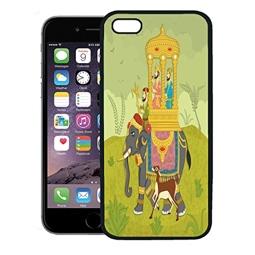 Semtomn Phone Case for iPhone 8 Plus case,Colorful Mughal King on Elephant Ride in Indian India Wedding Royal iPhone 7 Plus case Cover,Black