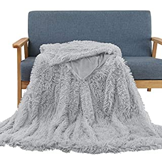 """Soffte Cloud Faux Fur Throw Blanket Super Soft Fuzzy Weighted Luxurious Cozy Warm Fluffy Plush Hypoallergenic Blanket for Bed Couch Chair Fall Winter Spring Living RoomLight Brown (63""""x79"""")"""
