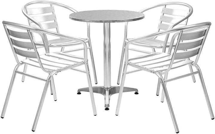 vidaXL Ensemble à Dîner 5 pcs Table Ronde Argenté Aluminium Salon de Jardin