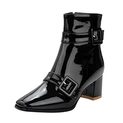 Women's Casual Buckles High Heel Martin Boots