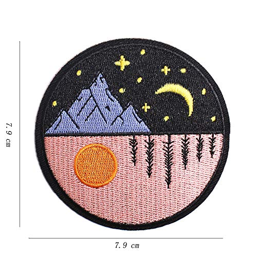 AXEN Day and Night Patches Embroidered Iron on Badge Patches, Iron On Sew On Emblem Patches DIY Accessories, Pack of 2