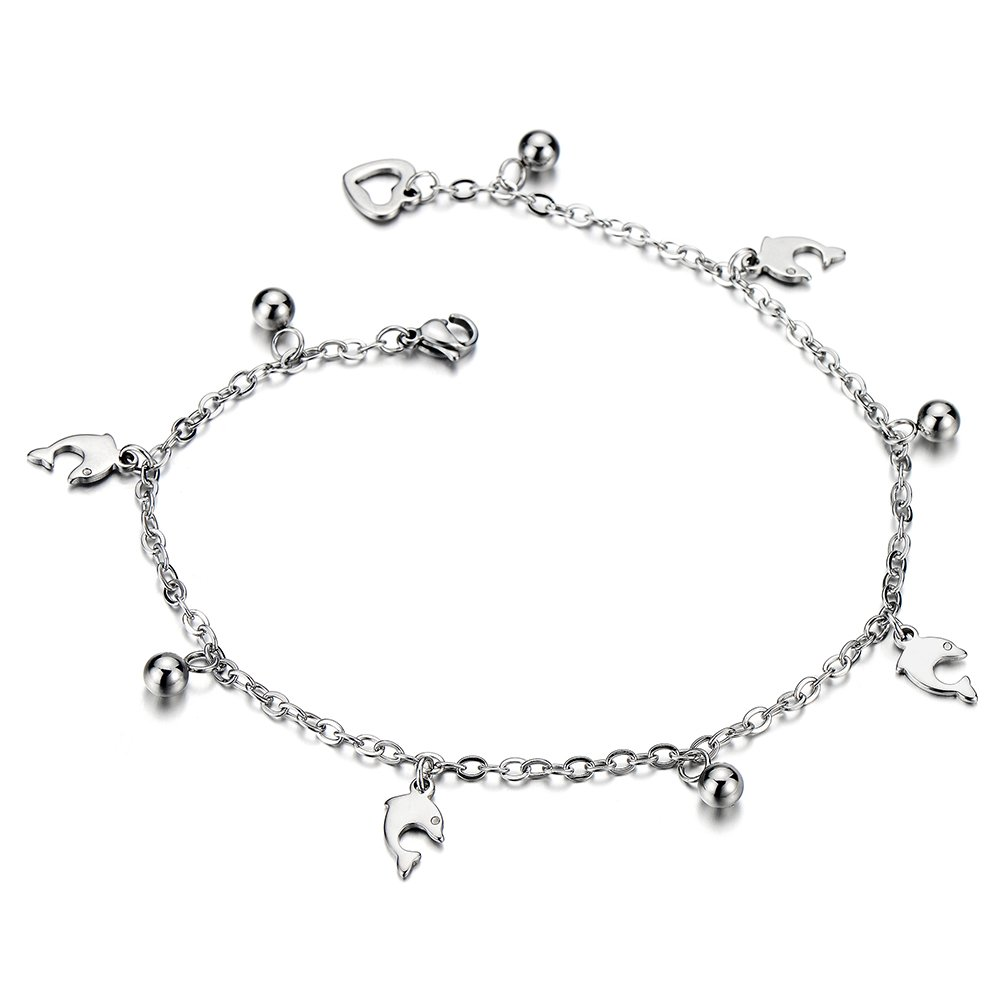 Stainless Steel Anklet Bracelet with Dangling Charms of Dolphins and Beads COOLSTEELANDBEYOND FA-49-CA