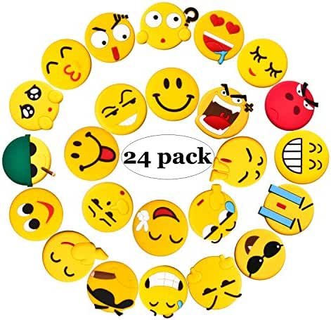 Emoji Fridge Magnets, 24 Pack Refrigerator Magnets with Funny Kitchen Decor Noticeboard Office Supplies, Best Housewarming Home Decorations Gift.