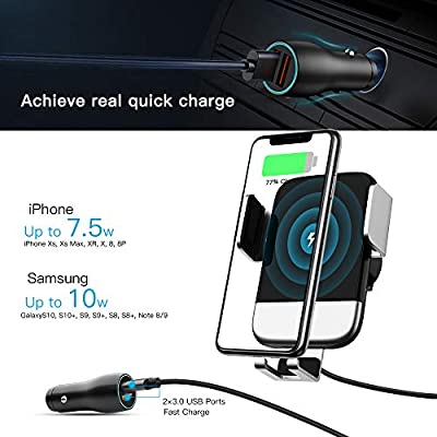 Silver air Vent Phone Holder Compatible for Galaxy S10//S10+//S9,Charging for iPhone 11//11 Pro//11 Pro Max//XSMax//XS//XR//X//8P//8 Wireless Car Charger Mount,auto-Clamping,10W Qi Fast Charging