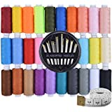 Paxcoo 30 Assorted Color Polyester Sewing Thread Spools 250 Yards Each with Sewing Needles and Soft Measuring Tapes