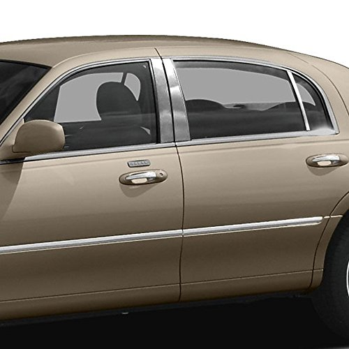 Upgrade Your Auto Chrome Pillar Post Covers for 1998-2012 Lincoln Town Car 6 Pieces ()