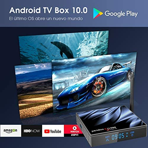 Android TV Box 10.0 4GB RAM 32GB ROM,[2021 Newest] Pendoo X11 PRO TV Box with Mini Wireless Keyboard Allwinner H616 Quad-Core 64bit with Dual-WiFi 5GHz/2.4GHz BT 4.2, USB 3.0 6K H.265 Android TV Box