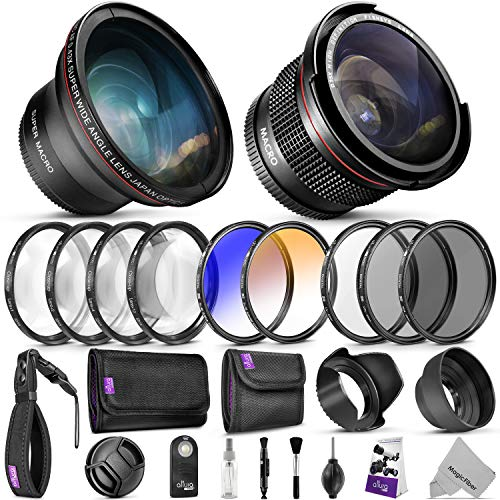 52MM Professional Accessory Kit for Nikon DSLR Bundle with Altura Photo Fisheye and Wide Angle Lenses from Goja