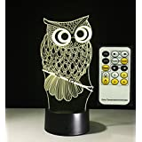 Owl 3D Touch Night Lamp, Meago 7 Color Changing USB Desk LED Night Light Home Decor Customized Gift for Children (7 colors and remote control)