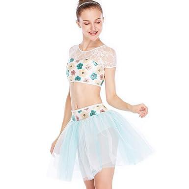 42e729444 Amazon.com  MiDee Lace Floral Sequins Lyrical Dance Costume Dress 2 Pieces   Clothing