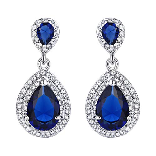 EVER FAITH Women's Austrian Crystal Cubic Zirconia Tear Drop Dangle Earrings Sapphire Color Silver-Tone