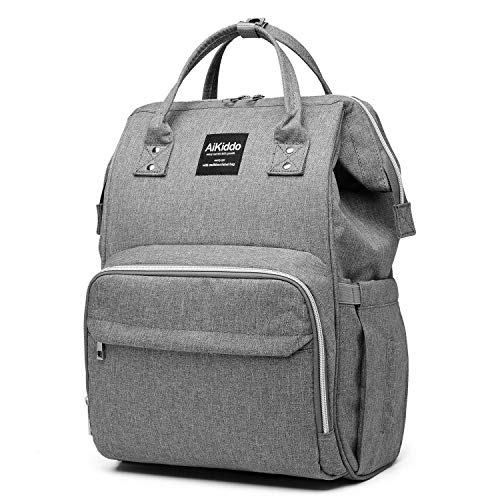 Diaper Bag Baby Diaper Bag Backpack, Multifunction Travel Backpack Diaper Bag for Mom/Dad with Stroller Straps, Changing Pad & Insulated Pockets, Water Resistant (Grey)