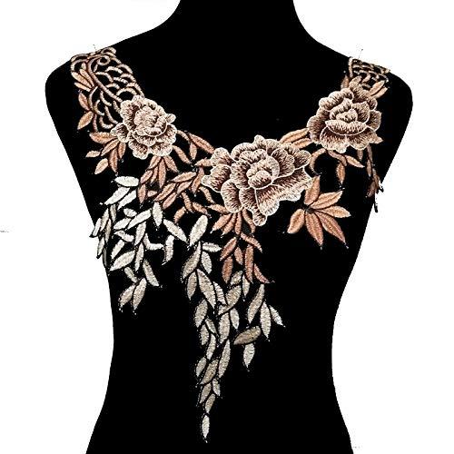 1Pc Lace Neckline Collar Fabric Dress Applique Motif Blouse Sewing Trims DIY Custome Decoration Accessories (Brown) -