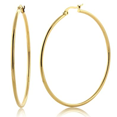amazon com 2 stunning stainless steel yellow gold plated hoop