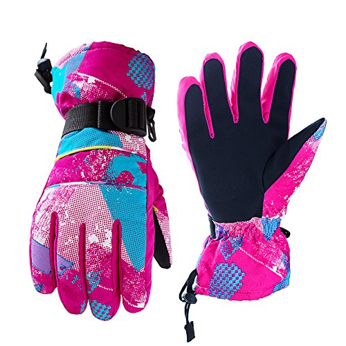 OutMall Ski Gloves for Womens, Youth, Windproof Breathable Warmest Winter Gloves for Snowboard Skiing,Skating,Snowmobile,Sledding,Thanksgiving,Christmas,Valentine's Day,New Year Gift (S, Red)