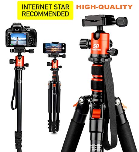 SR SUN ROOM Tripod DSLR SLR Tripod, 66 Camera Tripod Aluminum Alloy Complete Tripod for Phone | Camera Video?360 Degree Ball Head, Detachable Monopod, MAX 33lbs Load with Carry Bag