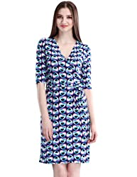 Maxchic Women Casual Dresses V-neck Heart Print Party Dress with Belt